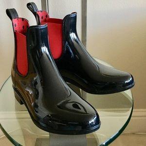 Lauren Ralph Lauren Black and Red Rain Boots